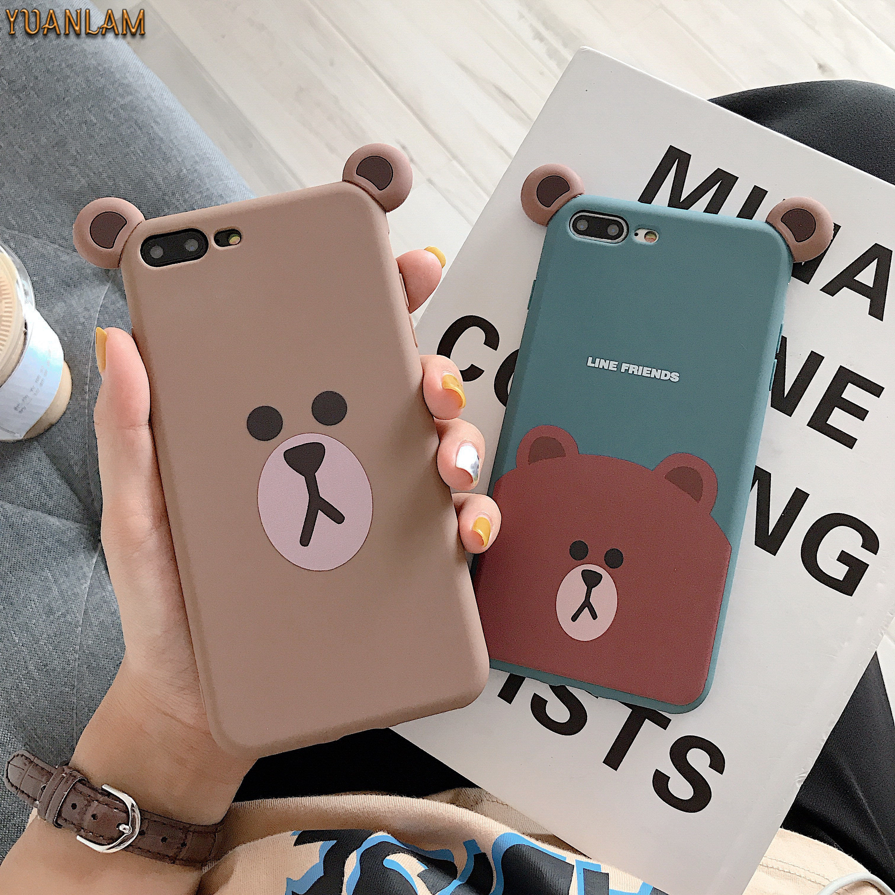 For iPhone 7 Case 3D Cute Cartoon Animal brown Bear Ear Phone Cases For iPhone 6S 6 7 8 Plus X Xs max Xr Silicone Soft TPU Funda