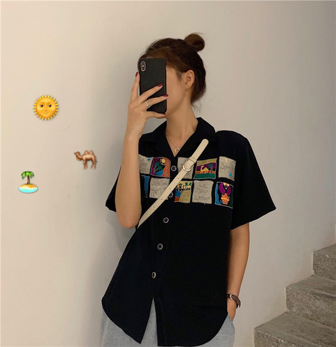 Simple Cartoon Printed Casual All Amtch Loose Button Line Basic 2019 Summer New Arrival Hot Sale College Wind Top Female Shirts