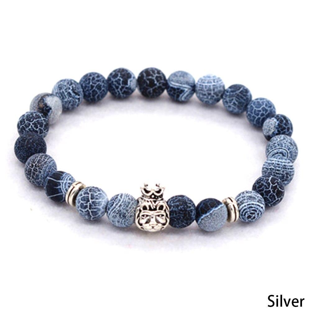 New Style Vintage Stone Crown Lion Head Bracelet Natural Weathered Yoga Beads Bracelet