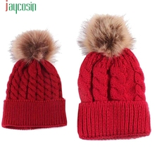 Two piece Mom And Baby hat Knitting Keep Warm Woolen Winter Hats Knitted Fur Cap For Woman baby Skullies & Beanies Gorros Feb06