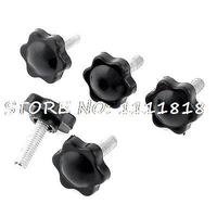 6mm Thread Diameter Screw Mount Plastic Gripe Clamping Knobs Black X 5