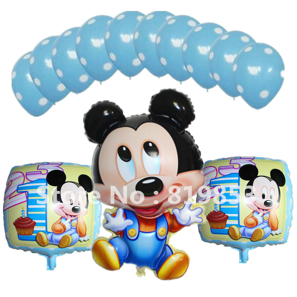 13pcs cartoon theme baby mickey mouse foil balloons for Baby mickey mouse decoration