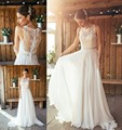 2016 Spring Boho Wedding Dress A Line Crew Long Lace Chiffon Bohemain Greek Bride Bridal Gown