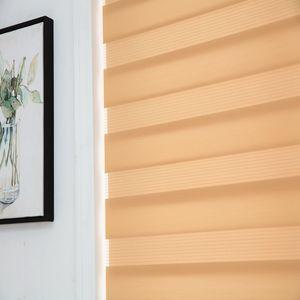 Image 3 - Zebra jaluzi yatay pencere gölgeliği çift katmanlı stor perde pencere özel kesim boyutu haki perdeleri oturma odası için