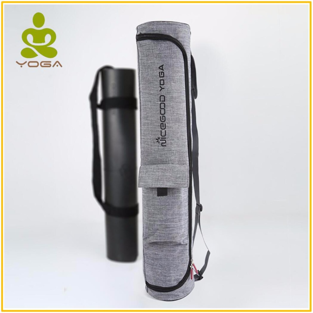 Bolsa de gimnasio esterilla de Yoga con bolsillos laterales impermeable Durable lona de algodón Yoga mochila llevar Correa cordón