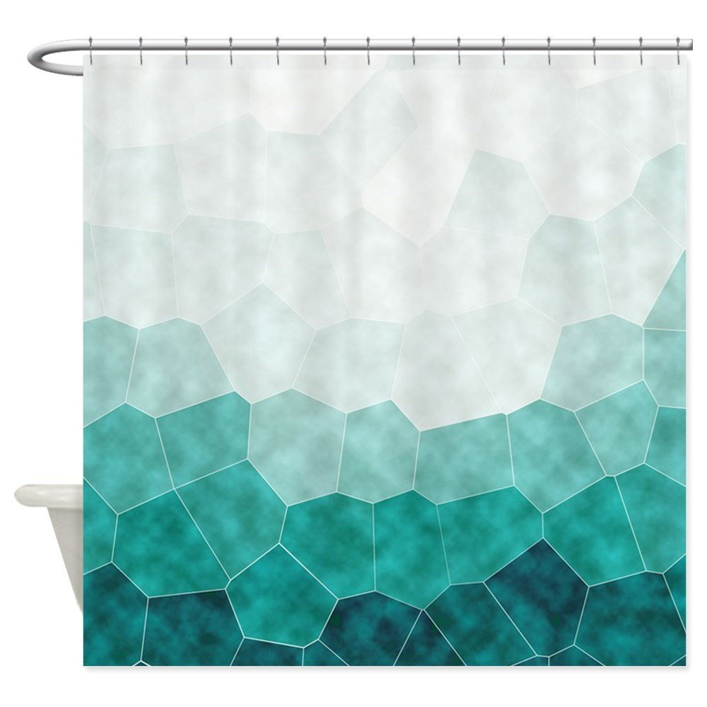 Teal Ombre Geometric Shower Curtain Decorative Fabric Shower Curtain ...