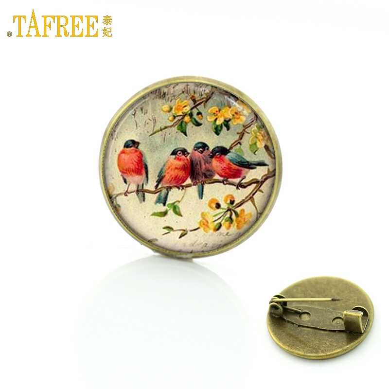 TAFREE Cute Bird Vintage Brooch for Woman Glass Cabochon Dome art picture pins Badge for Suit Sweater carves Animal Jewelry BP01