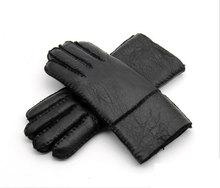 2019 Winter Warm Leather Men's Gloves Genuine Leather Sheepskin Men Gloves Wool Male Mittens Thermal Hand-made Brand