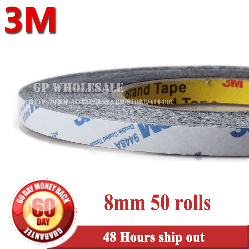 50x 8mm * 50 meters 3M 9448 black 2 Sided Adhesive Tape Sticky for LED Mobile Phone LCD Pannel Display Screen Repair/Logo #14 double sided tape 2mm 50m strong acrylic adhesive red film clear sticker for mobile phone lcd pannel display screen repair