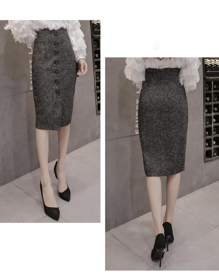 Neophil High Waist Woolen Button Pencil Midi Skirts Office Ladies Office Elegant Grey 19 Winter Wool Wrap Skirts Faldas S1738 12