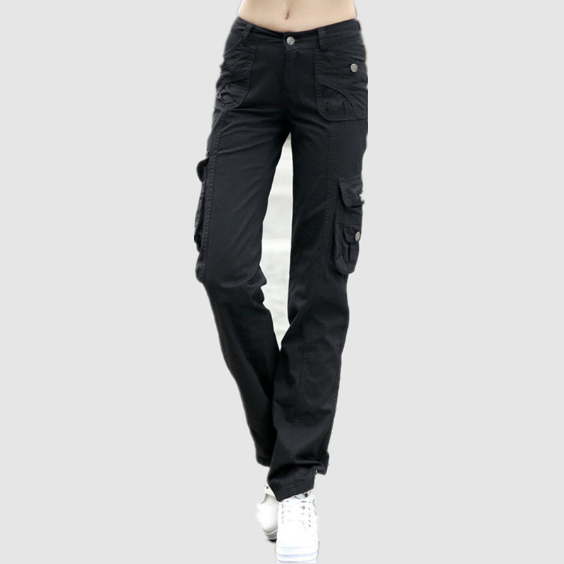Summer Style Military 100% Cotton Cargo Pants Women Loose Trousers Female Casual Baggy Pants Ladies Black Khaki Capris