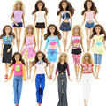Randomly Pick Lot 20 Pcs   = 10 Shoes +10 Sets  Fashion Outfit Blouse Trousers Dress Shorts Pants Skirt Clothes For Barbie Doll