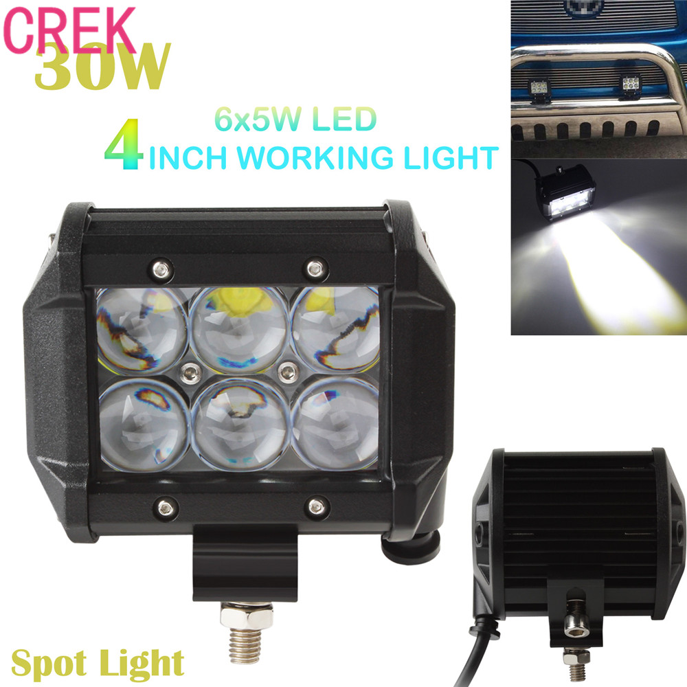 CREK 4 Inch Waterproof Vehicle 30W 2550LM 6 LEDs Spotlight 30 Degrees Work Spot Light Bar 4WD ATV Off-road SUV Driving Lamp