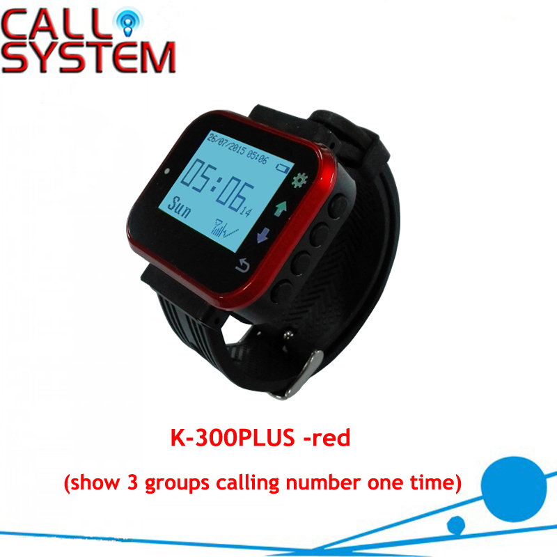 Waiter Server Watch Paging Service System Receiver/Watch K-300plus show 3 calling number one time wireless waiter service paging call calling system for bar 2 watch wrist pager k 300 receiver with 10pcs table button