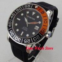Парнис 42 мм черный циферблат светящиеся сапфировое стекло Новый каучуковый ремешок 21 jewels MIYOTA 821A Автоматическая Мужские часы 370