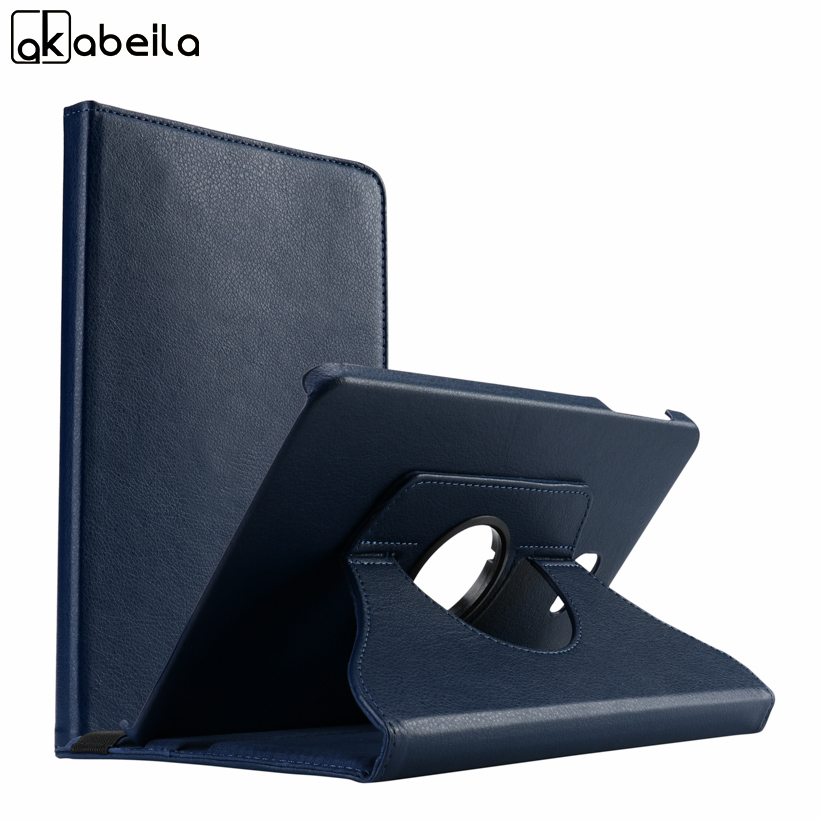 AKABLEILA Litchi Pattern Tablet PU Leather Cases For Samsung Galaxy Tab A 10.1 inch A6 2016 T580 Case 360 Rotating Stand Cover
