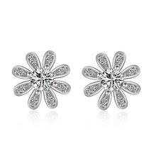 цена 100% 925 sterling silver fashion Chrysanthemum flower ladies`stud earrings jewelry women Anti allergy drop shipping в интернет-магазинах