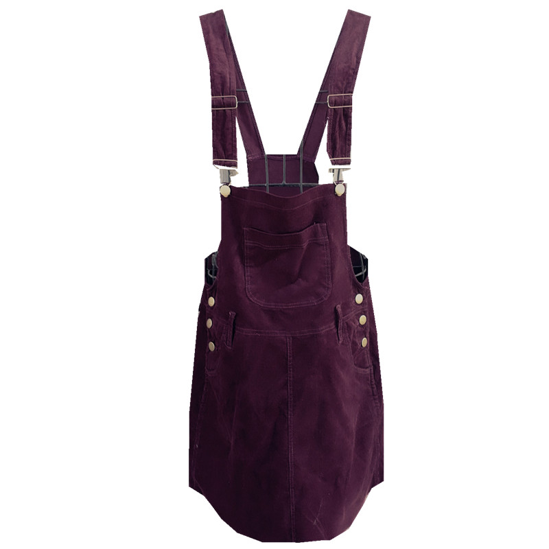 Braces Dress Young Woman Fashion Autumn 2017 Women Elegant Pockets Suspender Dresses Corduroy Sleeveless Overalls Dress Female
