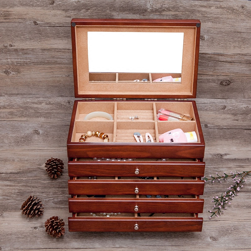 Wooden Jewelry Box/Jewel Case Cabinet Armoire Ring Necklacel Gift Storage Box Organize, Classic Design Multifunction Storage Box