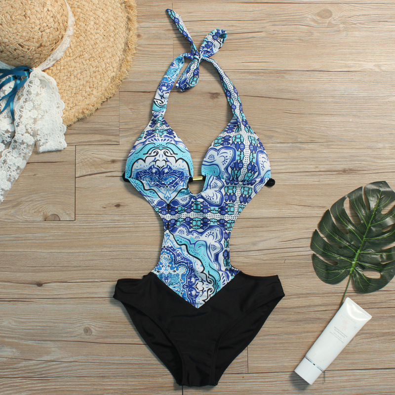 Love Women One Piece Swimsuit 2019 New Beach Wear Print Floral Vintage Retro Bathing Suits Swim Wear in Body Suits from Sports Entertainment