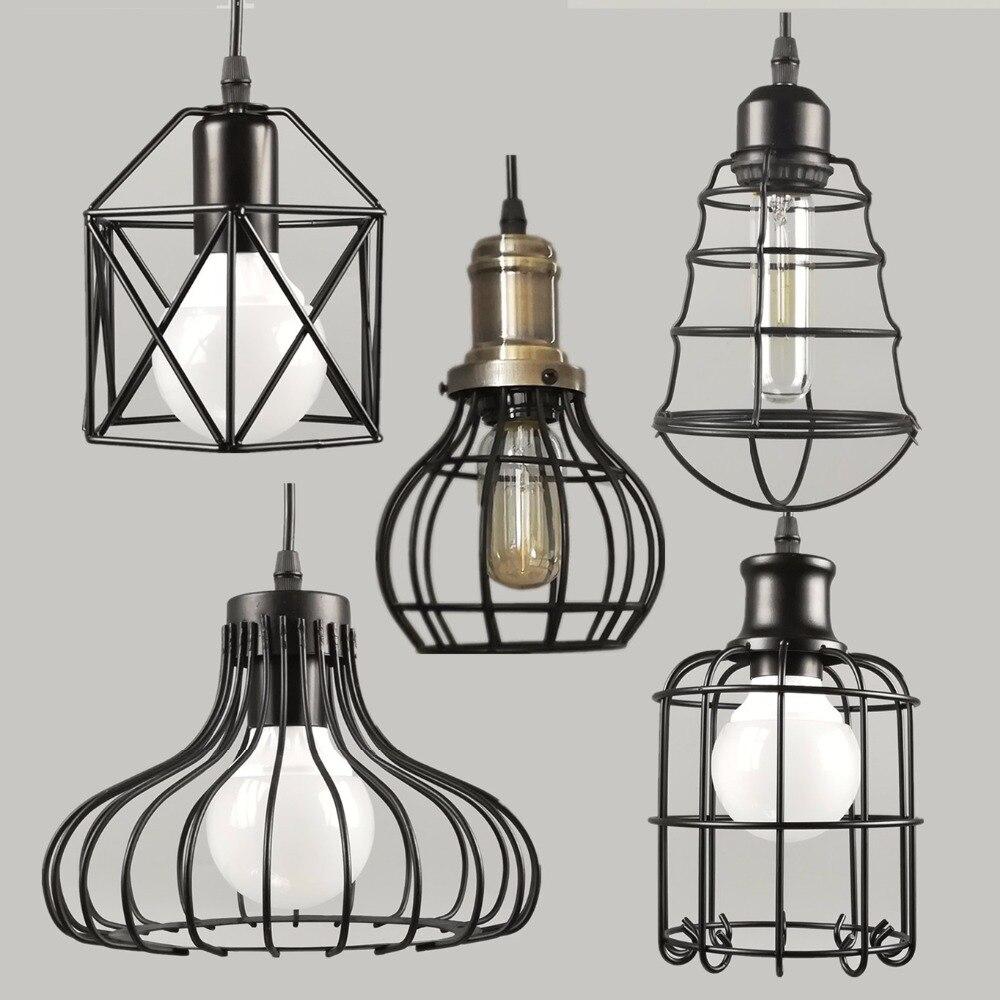 Retro Indoor Lighting Vintage Pendant Light LED Blub Iron Metal Lampshade Warehouse Style Decoration Light Fixture AC110-265V