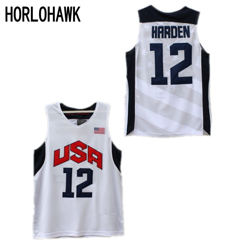 df522d5f7 ... basketball jerseys embroidery stitched d6317 64ddb australia james  harden 12 team usa jersey white sewn new any size eb255 4b60b ...