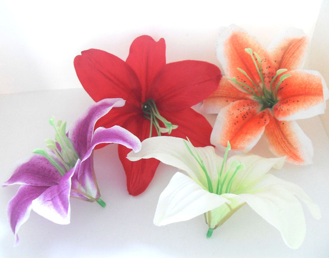 20 pieces artificial lily lotus silk flower heads wedding bride 20 pieces artificial lily lotus silk flower heads wedding bride bouquet decoration c77 mightylinksfo Images
