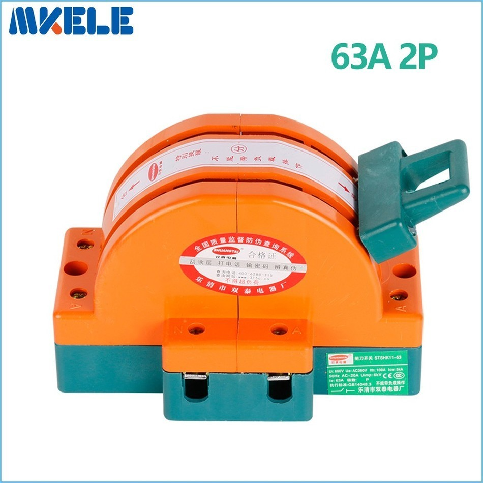 купить High Quality Heavy Duty 63A 2p Double Throw Disconnect Switch Delivered Safety Knife Blade Switches air circuit breakers China по цене 324.22 рублей