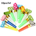 10Pcs Small Colorful Funny Whistles Kids Childrens Birthday Party Dots Blowing Dragon Blowout Baby Birthday Supplies Toys gift