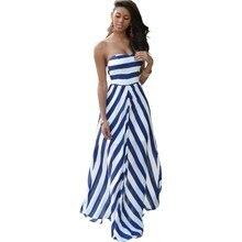 2df6588457 Caliente mujeres Sexy vestido Slash cuello rayas imprimir Maxi vestido  largo sin mangas sin tirantes de la playa vestidos de ver.