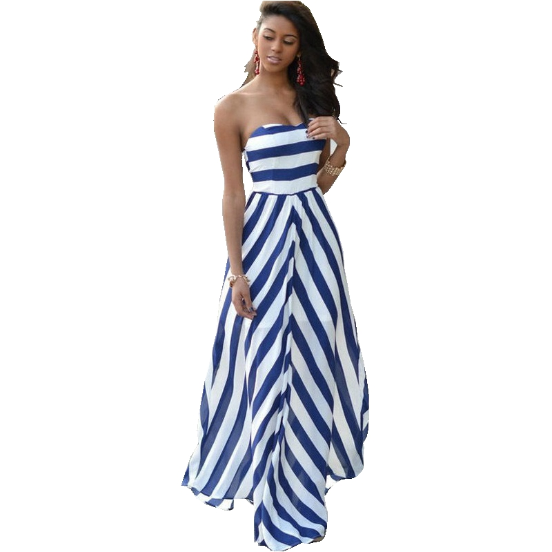 hot sexy women dress slash neck striped print maxi long