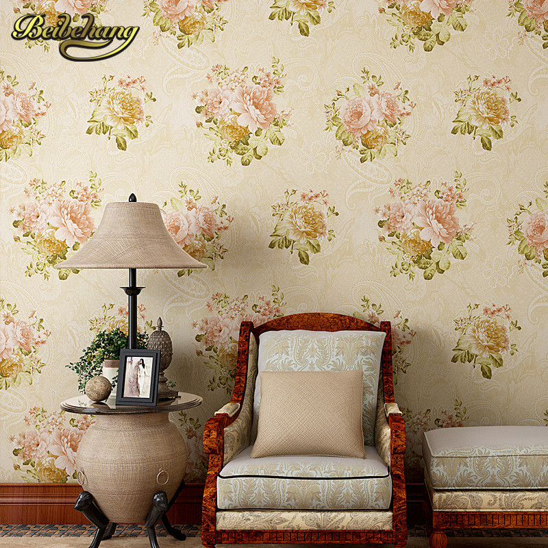 beibehang papel de parede 3d American pastoral flowers Wallpaper Living Room Bedroom Wallpaper For Walls wall papers home decor beibehang embossed american pastoral flowers wallpaper roll floral non woven wall paper wallpaper for walls 3 d living room