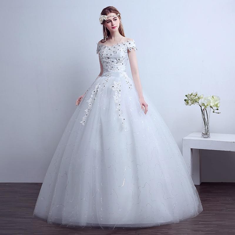 Real Sample Custom Size 2016 Simple Wedding Dress Boat Neck Bridal ...