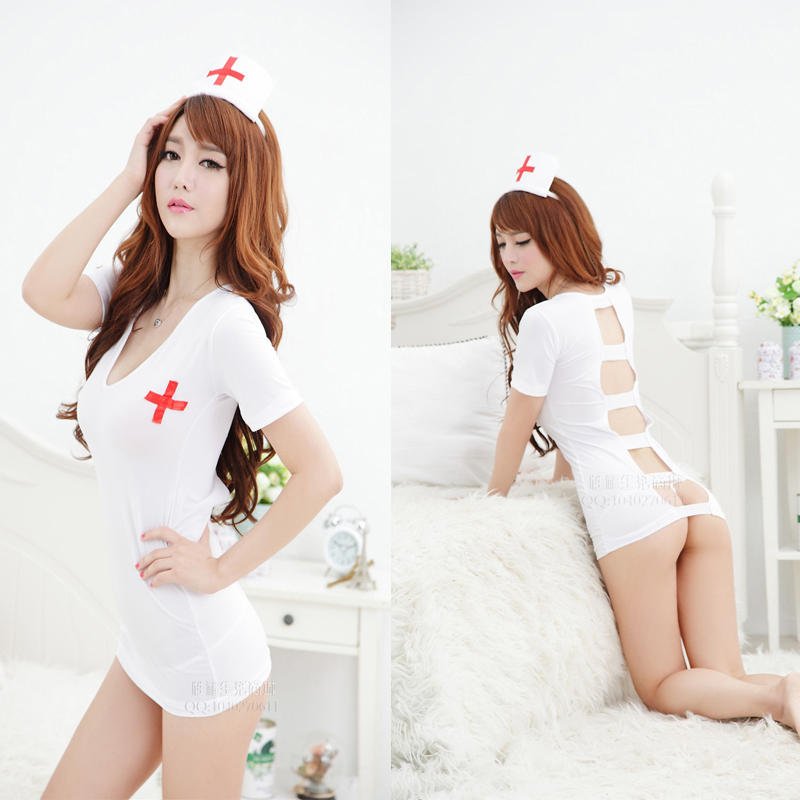 Women Sexy Costumes Of Nurse And Doctor V Neck Sexy Erotic -2847