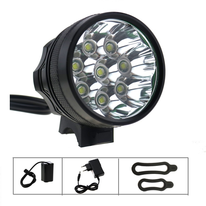 12000 Lumen 8T6 Bicycle Light Headlight 8x CREE XM-L T6 LED Helmet Bike Lamp Flashlight + 8.4V 18650 Battery Pack + Charger Plug