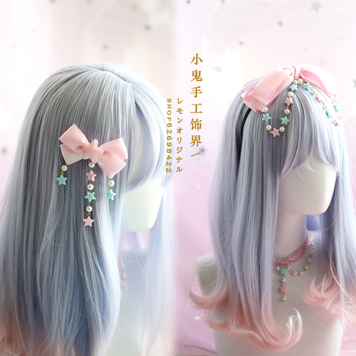 Japanese Cute Bow Soft Sister Headband Lolita Headdress Daily KC Simple Headband Headdress Side Clip Stars