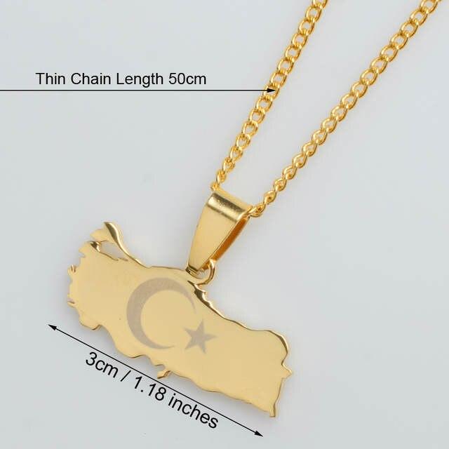 Placeholder Anniyo Turkey Map Flag Gold Color Silver Pendant Necklace For Women Men