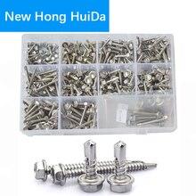 External Hex Self Drilling Screws Hexagon Metric Thread Tapping Bolt Assortment Kit Set 304 Stainless Steel #8 #10