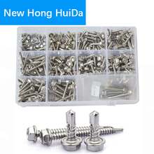 Hex Self Drilling Screws Metric Self Driller Sheet Philips Self Tapping Screw Assortment Kit 295pcs 304 Stainless Steel,#8 #10