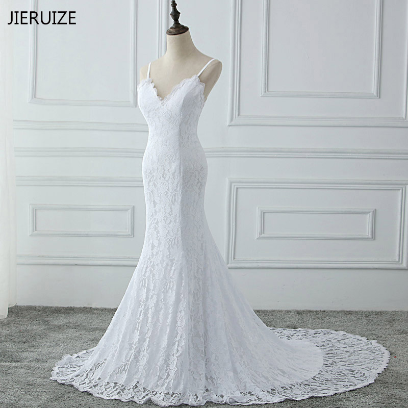 JIERUIZE White Lace Mermaid Boho Wedding Dresses 2018 Low Back Summer Bridal Dresses Backless Wedding Gowns robe de mariee