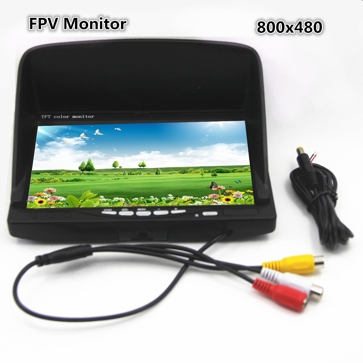 FPV Monitor 7 inch TFT LCD Monitor Photography HD 800x480 Blue Screen w Sun Shade for fpv monitor 7 inch tft lcd monitor photography hd 800x480 blue tft color monitor wiring diagram at bakdesigns.co