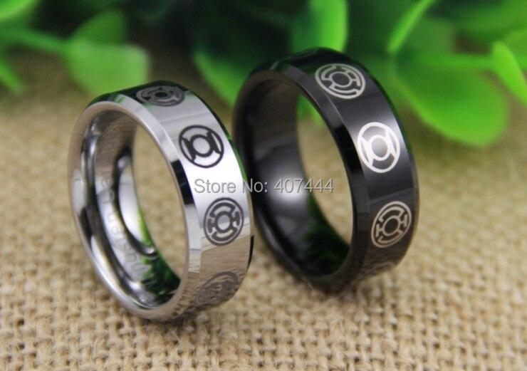 free shipping ygk jewelry hot sales 8mm blacksilver beveled green lantern darkest night tungsten - Green Lantern Wedding Ring