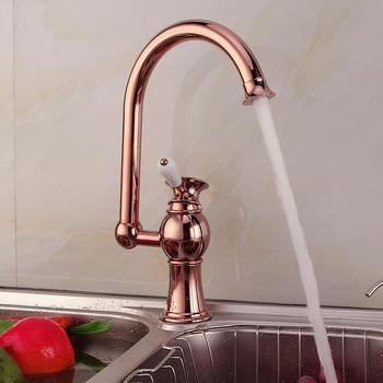 Antique copper kitchen faucet pull out red, Brass kitchen sink basin faucet hot and cold, Rotated dish basin faucet mixer tap