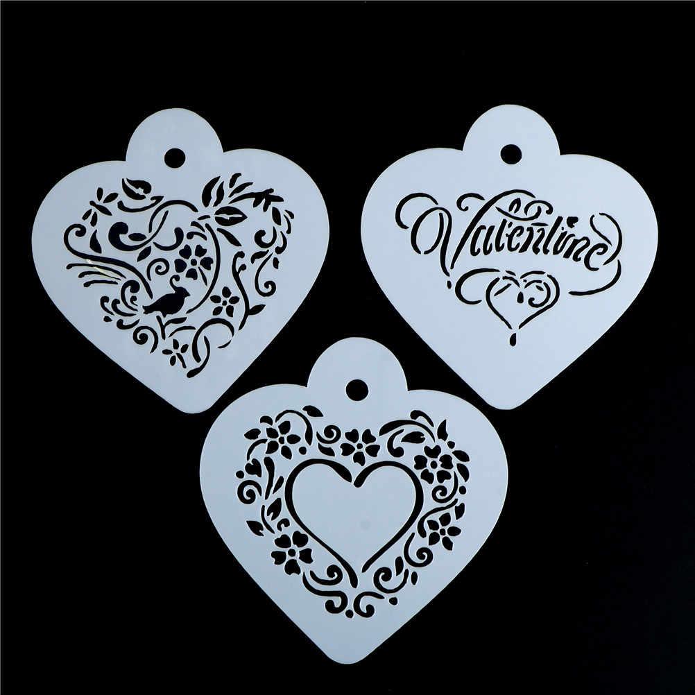 3 adet/takım 9.5*8.5cm kalp styleTemplate saman çiçekler Barista araçları mutfak aksesuarları plastik Cappuccino kahve şablonlar