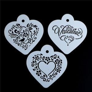 3pcs/set 9.5*8.5cm heart styleTemplate Strew Flowers Barista Tools Kitchen Accessories Plastic Cappuccino Coffee Stencils(China)