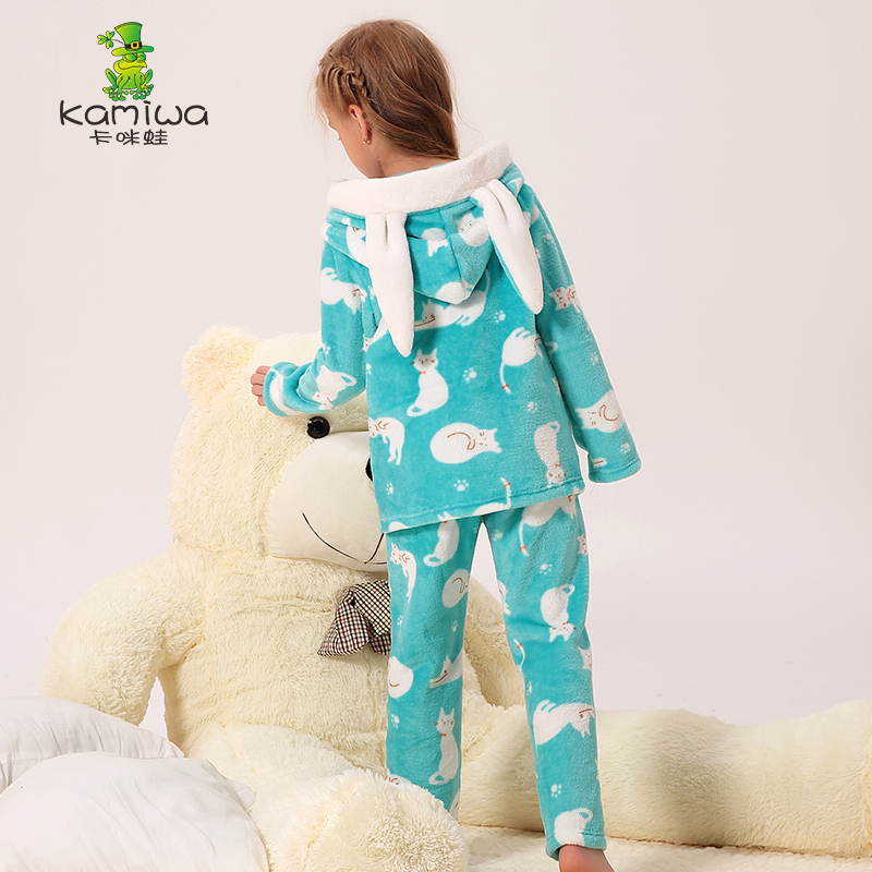 Girls Pajamas autumn winter christmas pajamas 2 pcs Children Clothing Set Kids robe shaker flannel girl clothing sets ...