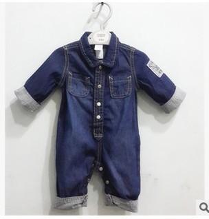 Vaqueros recién nacidos del bebé del dril mameluco largo sleeeve muchachos de la ropa ropa bebes mameluco mono bebe barboteusemacacao bebe menino