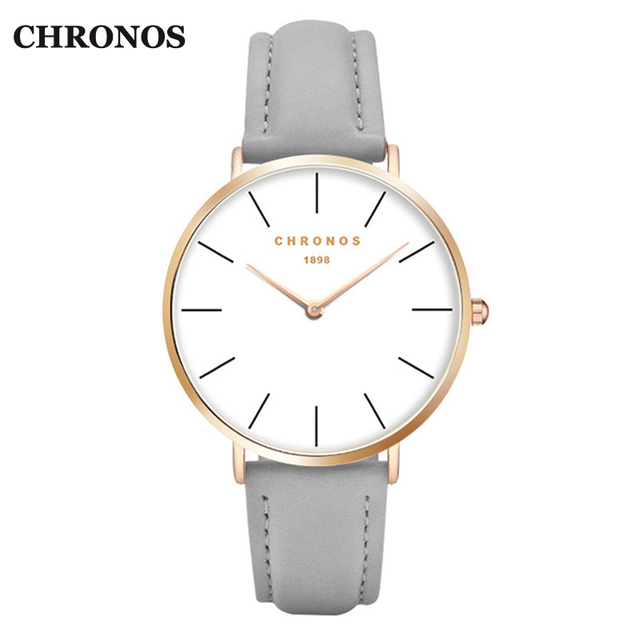 Chronos 1898 Watches Men Luxury Casual Women Watches Leather Quartz Watch Rose Gold Silver Male Clock Relogio Masculino
