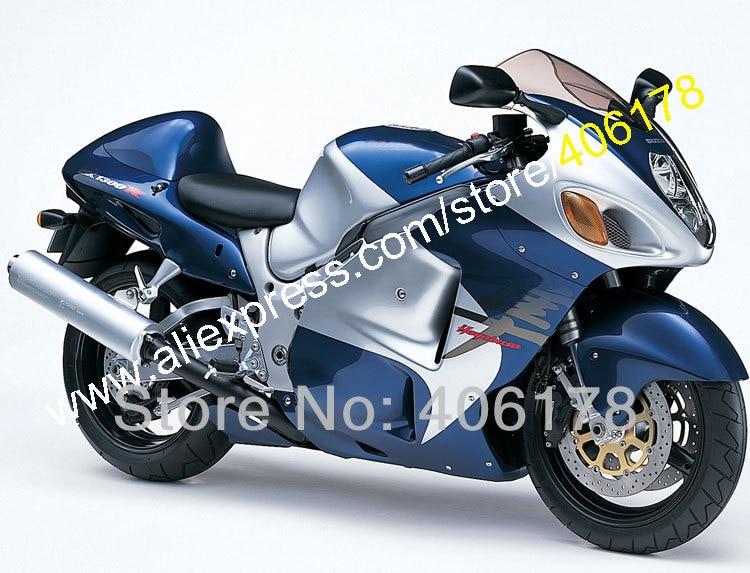 Hot Sales,Blue Silver fairings kit for SUZUKI GSXR 1300 GSX-R1300 99-07 GSXR1300 1999-2007 Bike Parts (Injection molding)