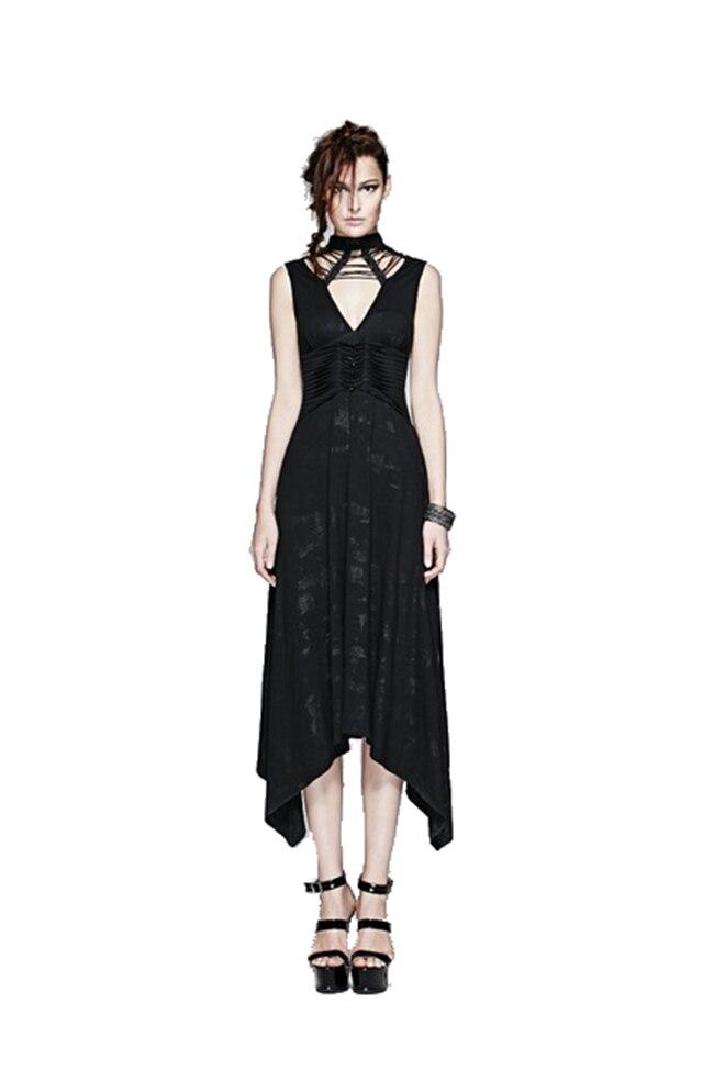 Robe Noir Sans Longue Manches Coton Robes Femmes D'été Sexy Punk Gothique X8CYwqYx